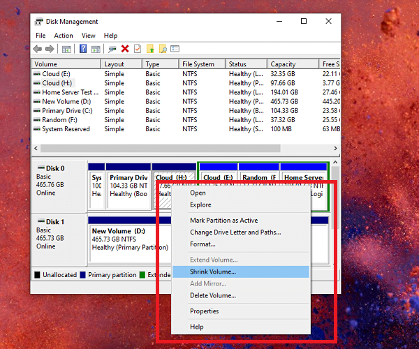 Manage Harddrive Partition in Windows 10