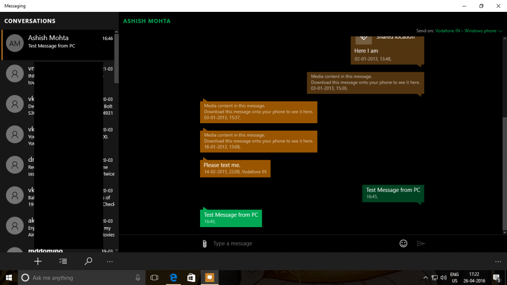 Send Text from Windows 10 PC