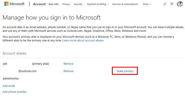change email microsoft account windows 10