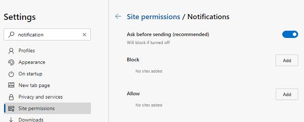 Microsoft Edge Notifications