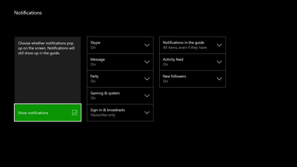 Notifications Control on Xbox One