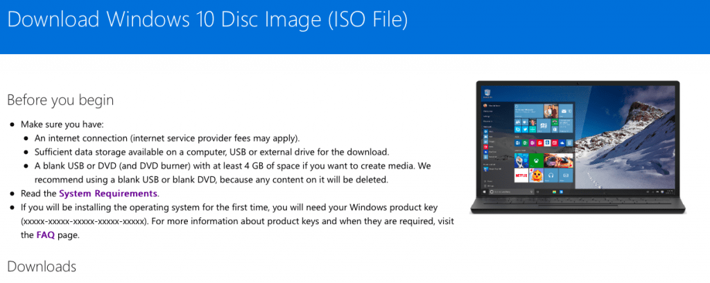 Official Windows 10 ISO Download Page