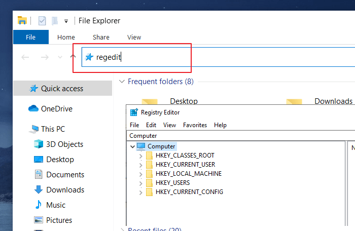 Open Registry Editor Windows 10 - File Explorer