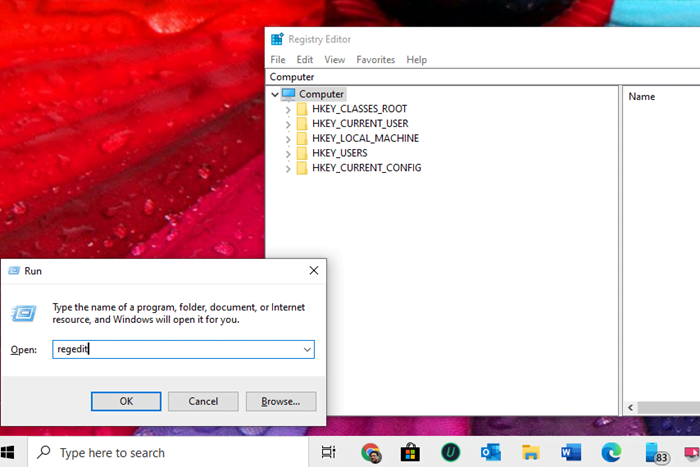 Open Registry Editor Windows 10 using Run prompt
