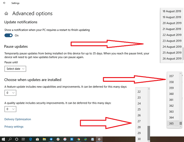 Pause Delay Updates Windows 10