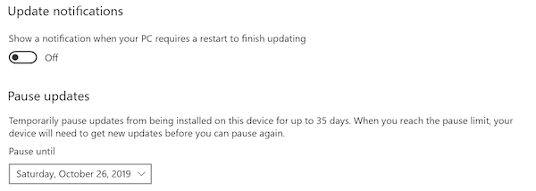Pause Updates in Windows 10 by Date