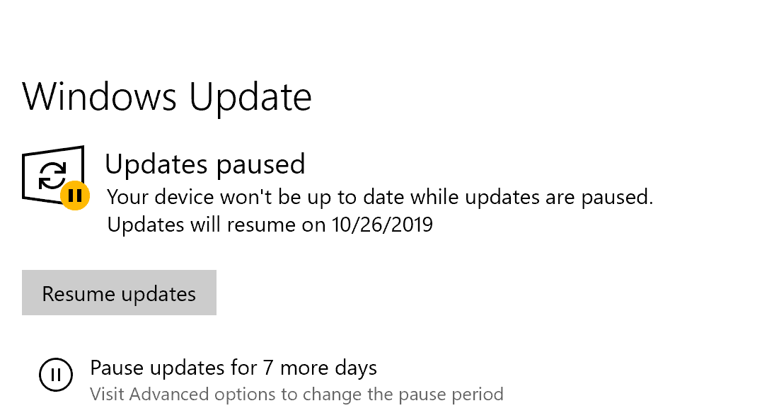 Pause Windows Updates