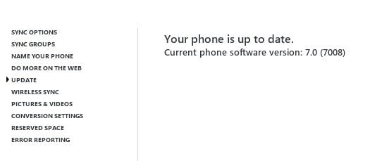 Phone Uptodate Message in Zune