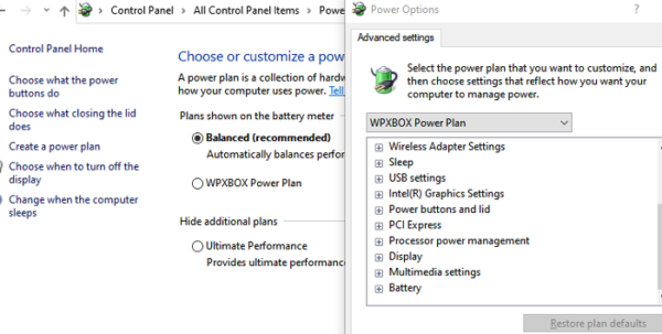 Power Plan for Hardware Devices Windows