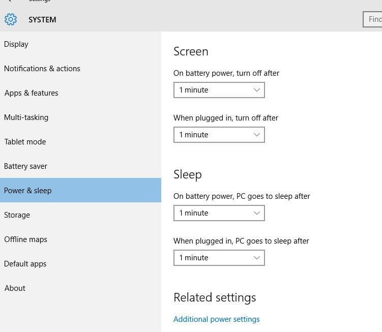 Power and Sleep Settings in Windows 10