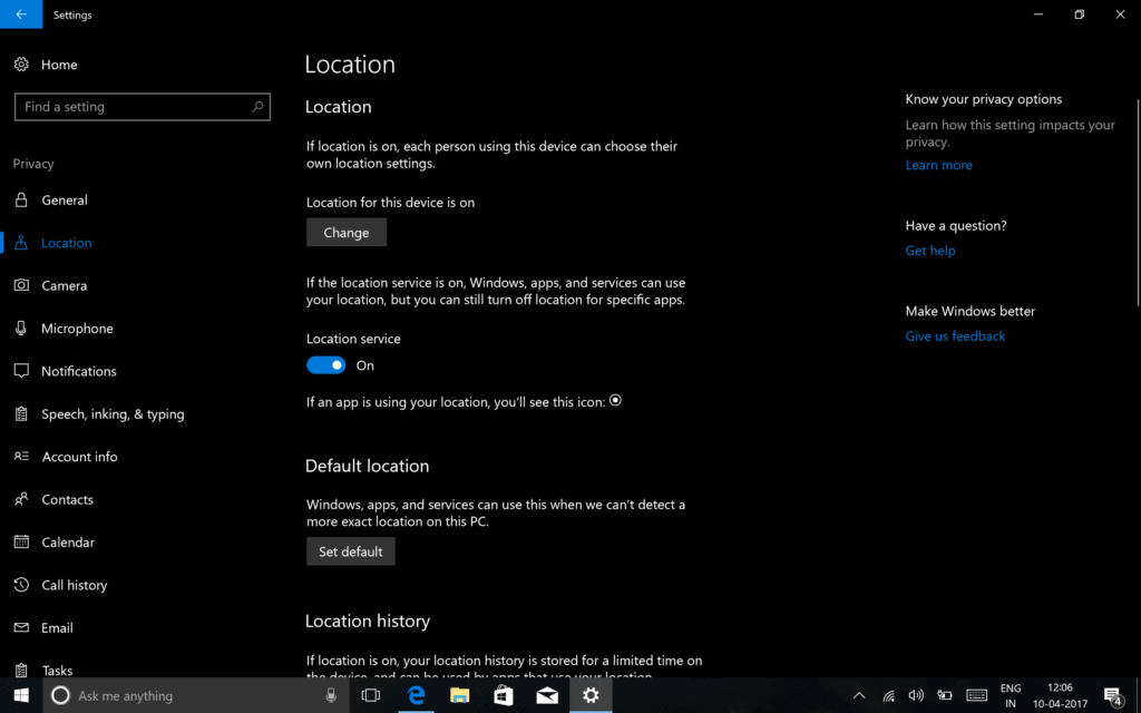 Configure Privacy Settings in Windows 10