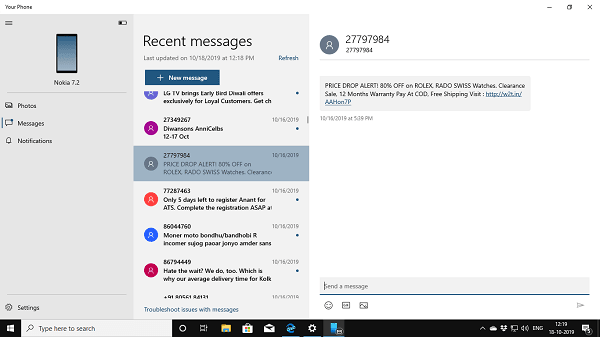 Read and Send text message on Windows 10 PC