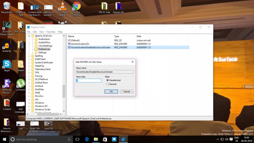 Registry Hack Enable Cortana Over Lock Screen