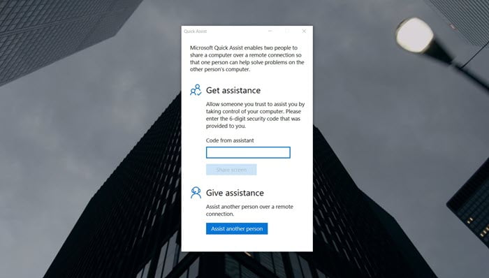 Remote access Windows 10 quick assist