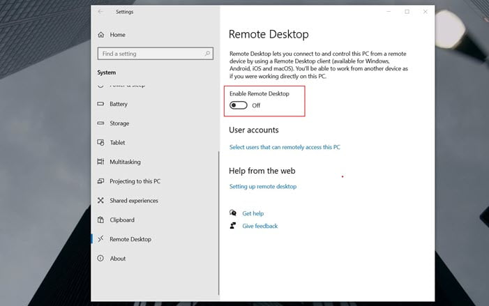 Remote access windows 10 remote desktop