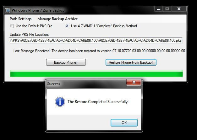 Restore using Cutom Tool without Zune