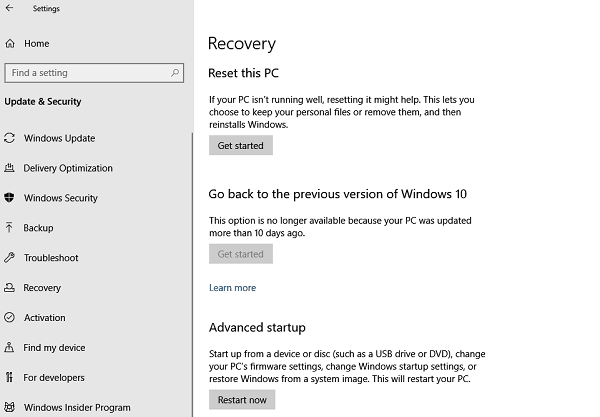 Rollback Windows 10 Previous Version