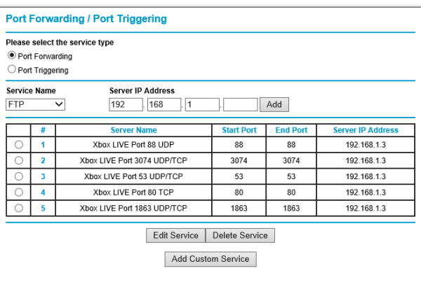 Router Port Forward Settings for Xbox