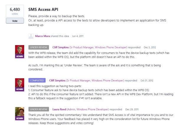 SMS Access API in Windows Phone 8