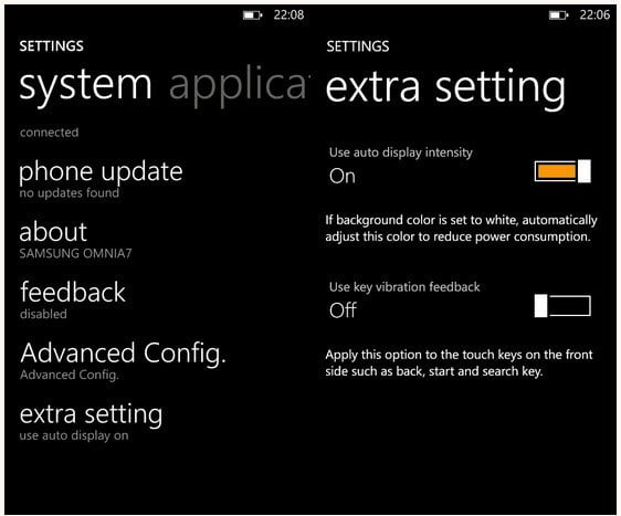 Samsung Focus S Extra Settings