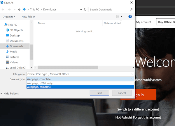Save as HTML in Edge