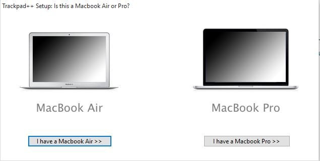 Select Macbook Type for Trackpad Plus Plus