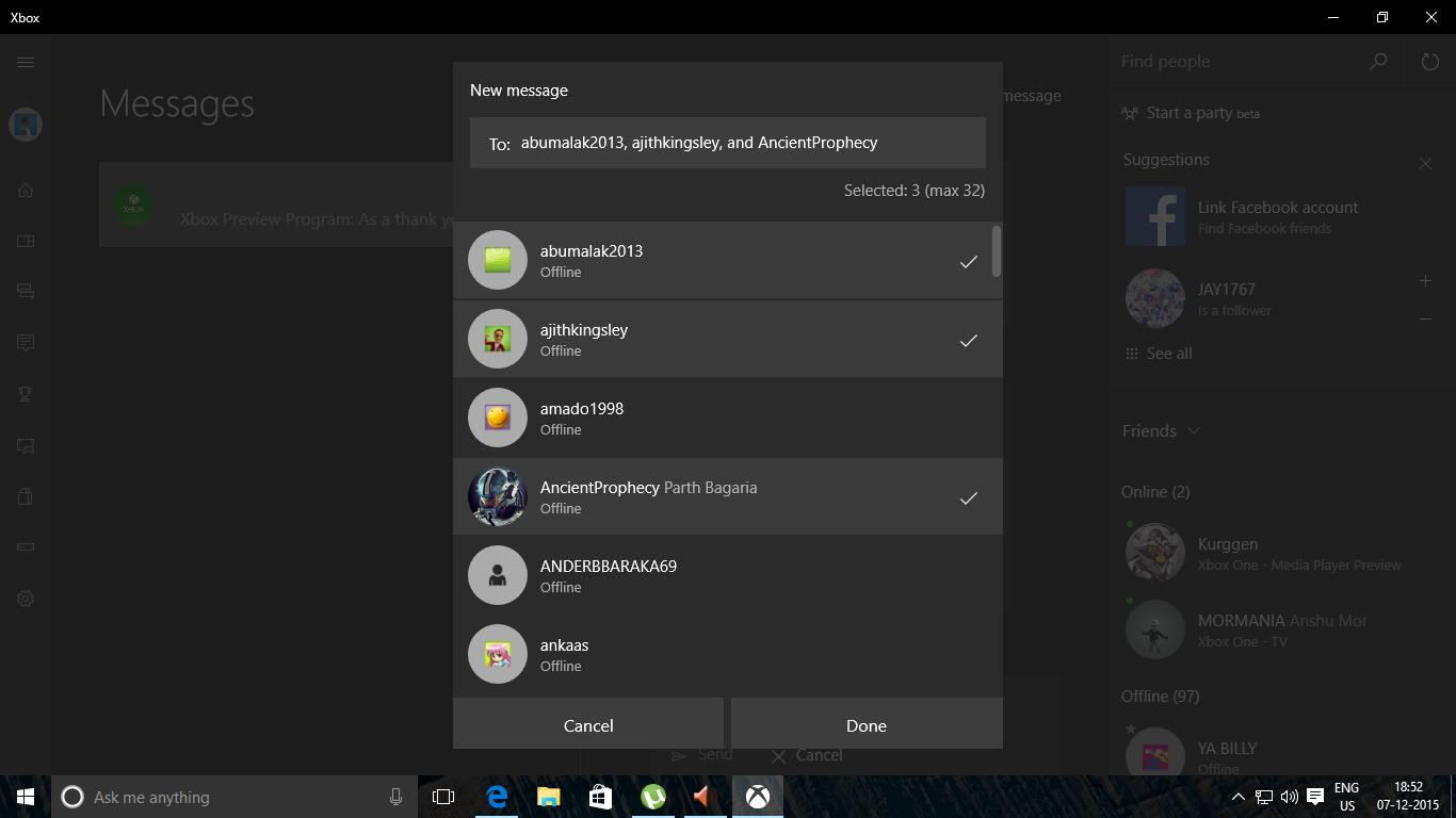Send Messages Xbox One Windows 10 App