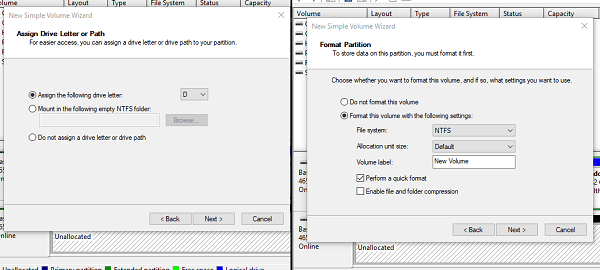 Set Drive letter and Format for New Drive in Windows 10