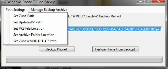 Setting up File Path in Backup Tool