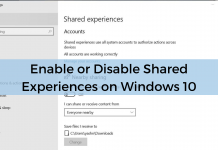 Enable Disable Shared Experiences Windows