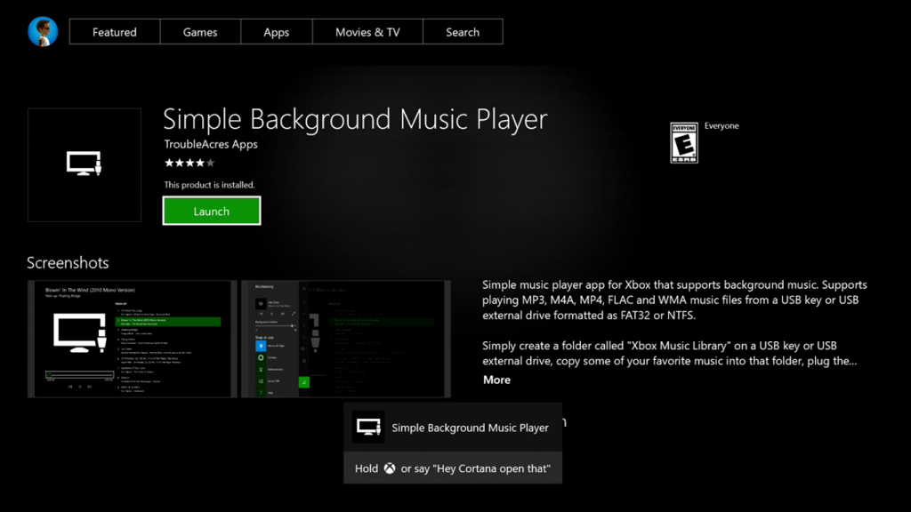 Simple Background Music Player Xbox One
