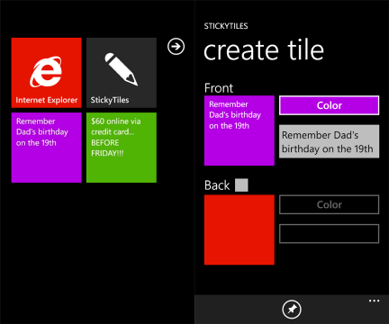 Sticky Notes : Create Live Tiles on Windows Phone