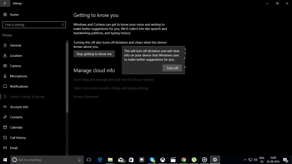 Stop getting to Know Me Cortana Windows 10