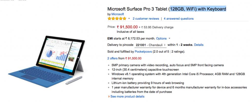 Surface Pro 3 Amazon India Pricing