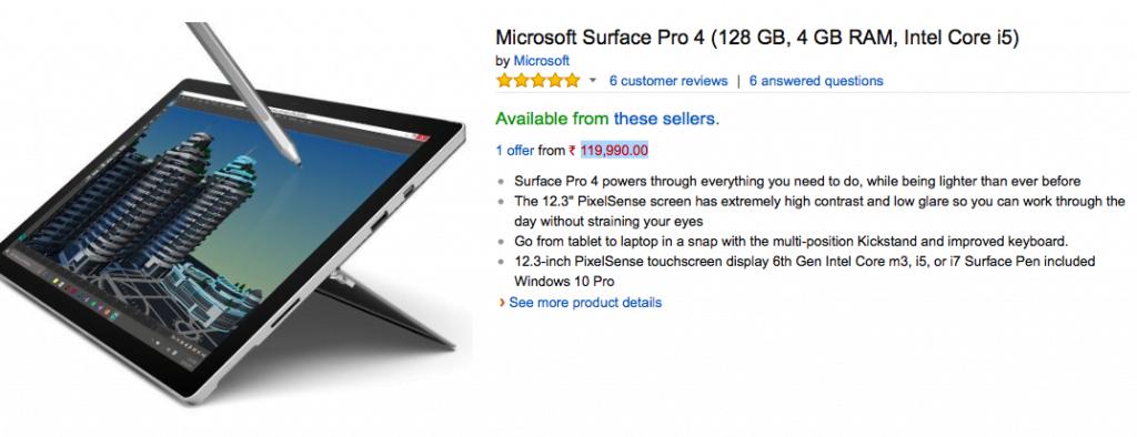 Surface Pro 4 Amazon India Listing