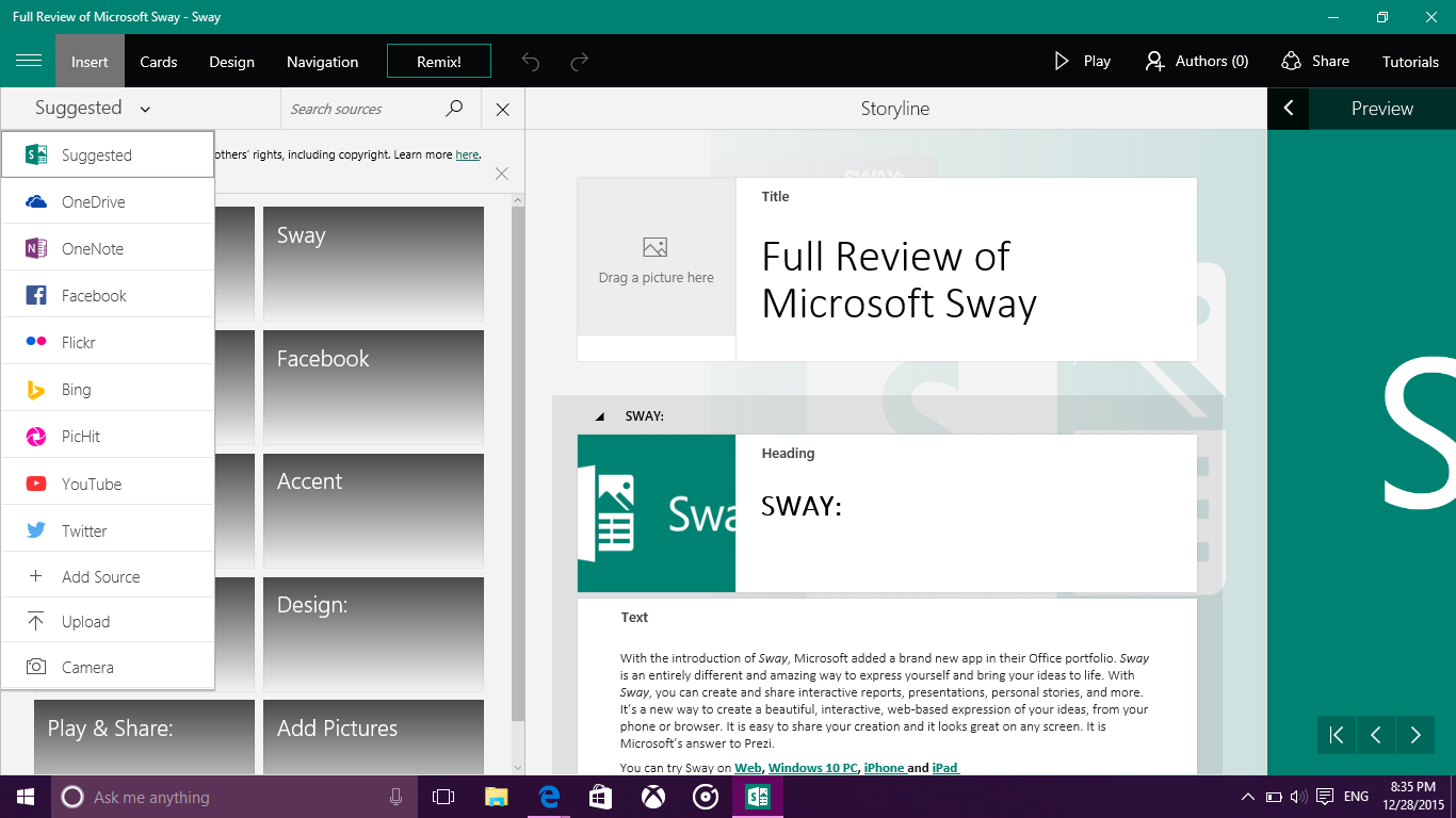 Microsoft Sway Presentation