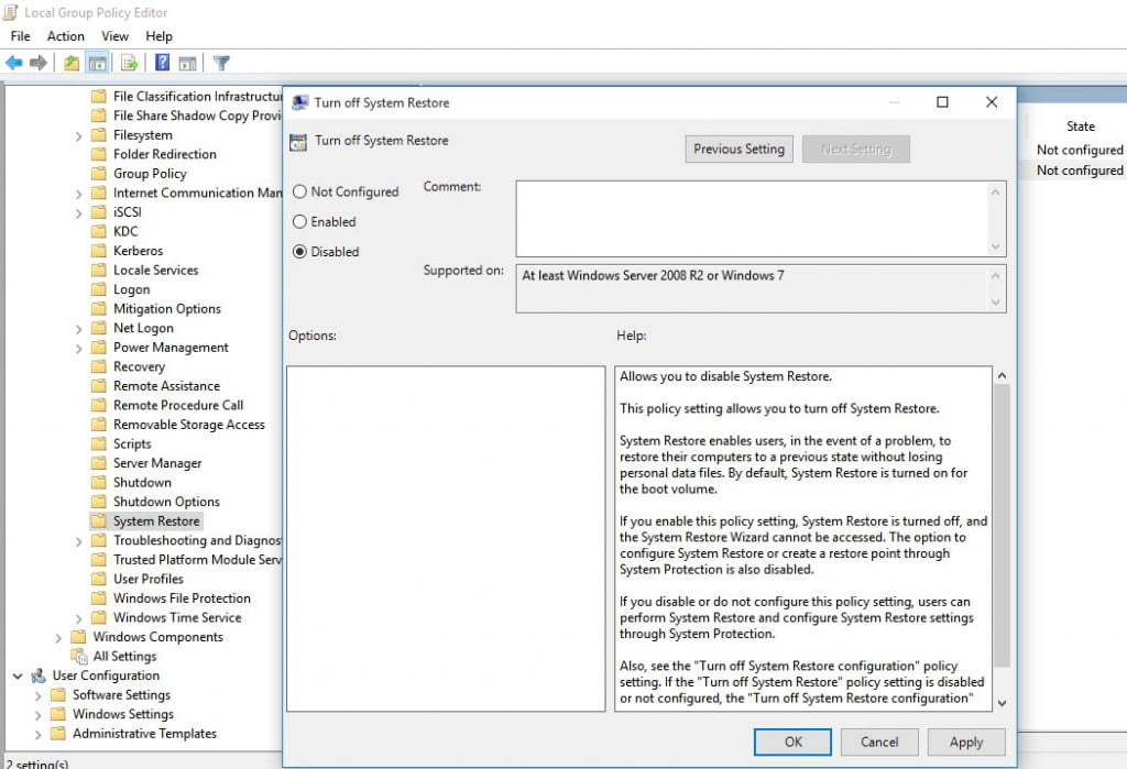 System Restore Policy Editor