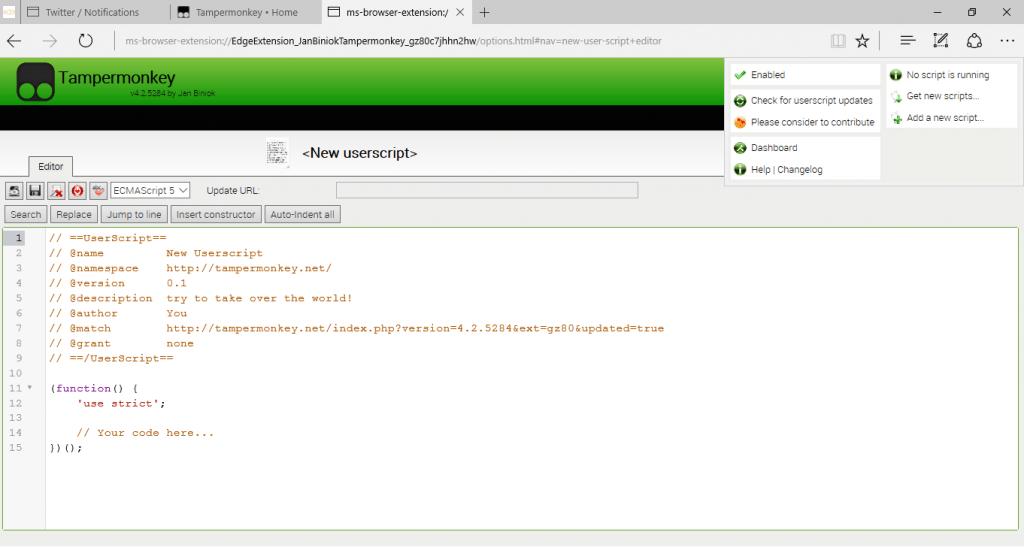 Download Tampermonkey Edge Extension on Windows 10