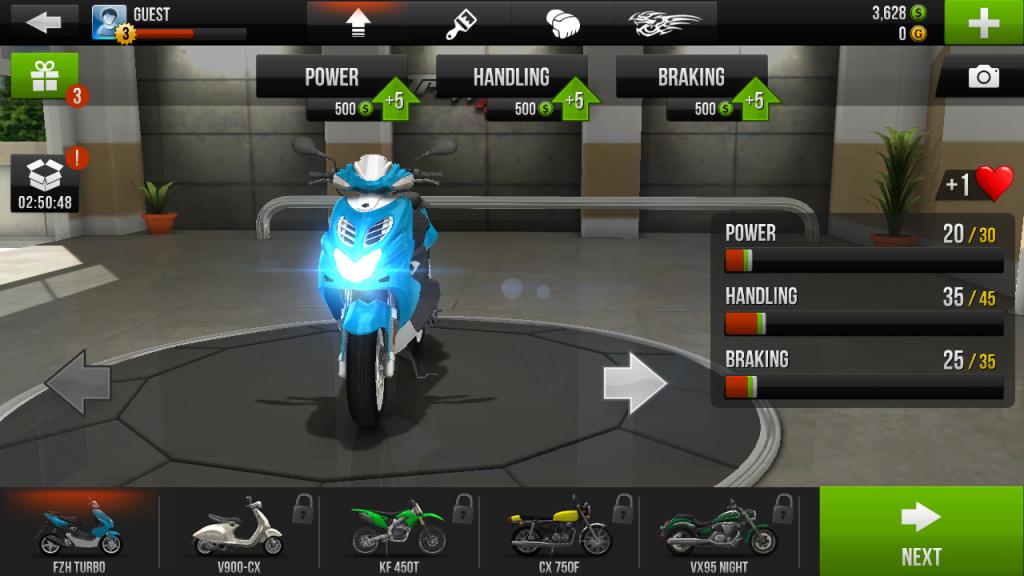 Traffic Rider garage