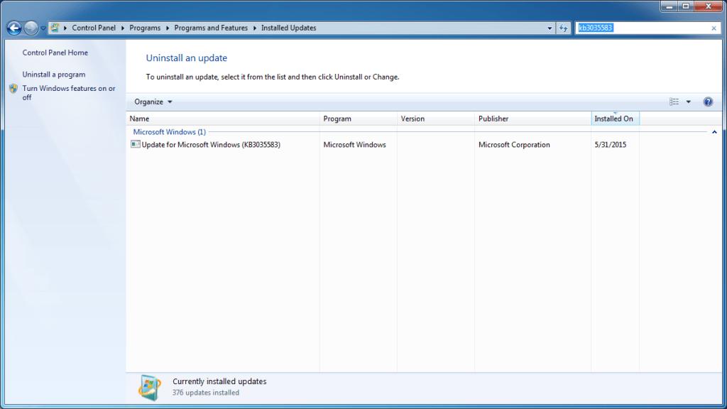 Upgrade installed updates