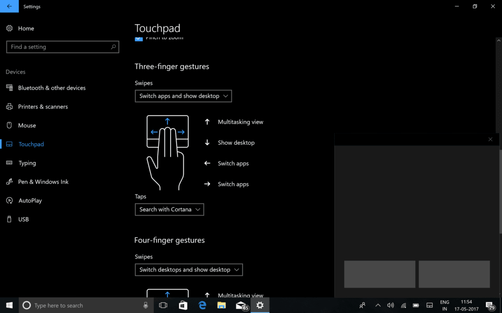 Windows 10 Touchpad Gesture