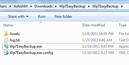 WP7 Easy Backup Beta Files