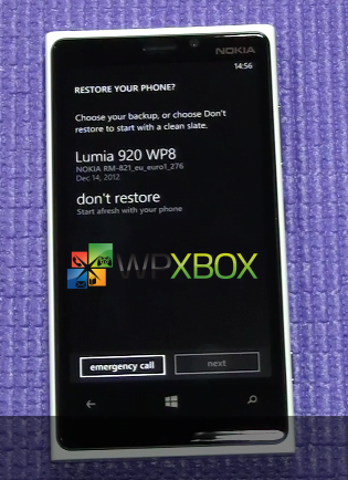 WP8 Restore from Backup