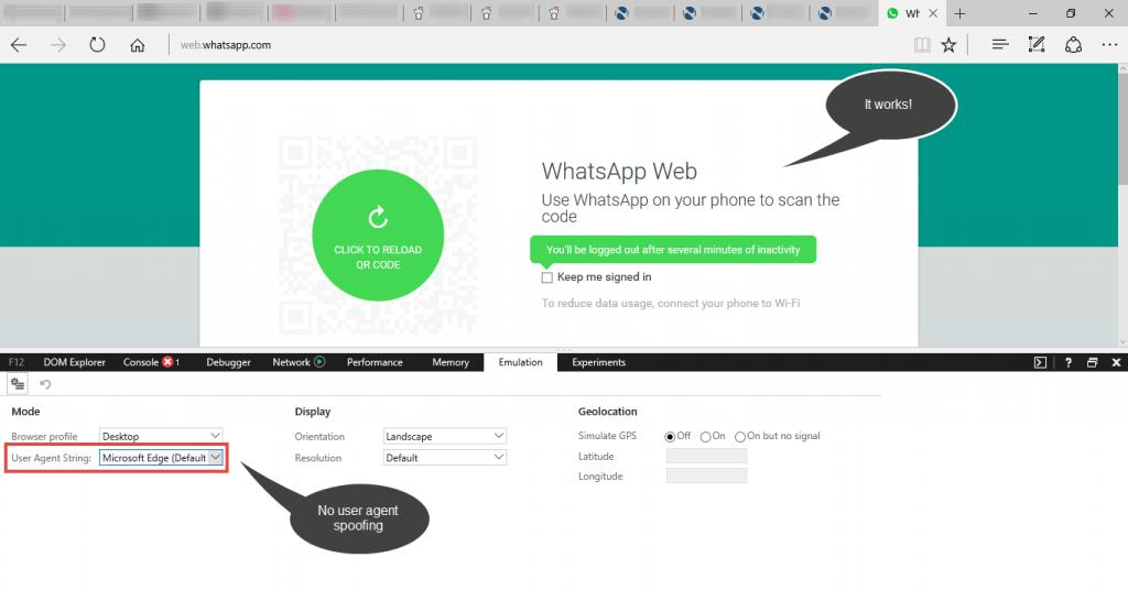 WhatsApp Web with Edge