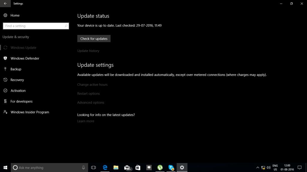 Windows 10 Anniversay Update Dark Mode