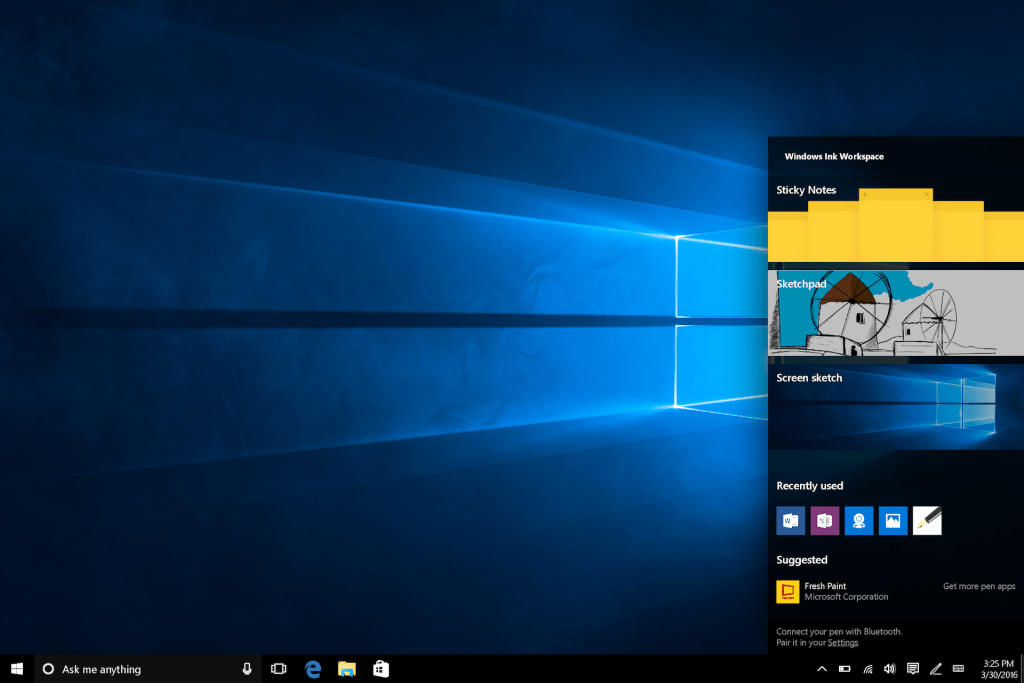 Windows 10 Anniversay Update INK