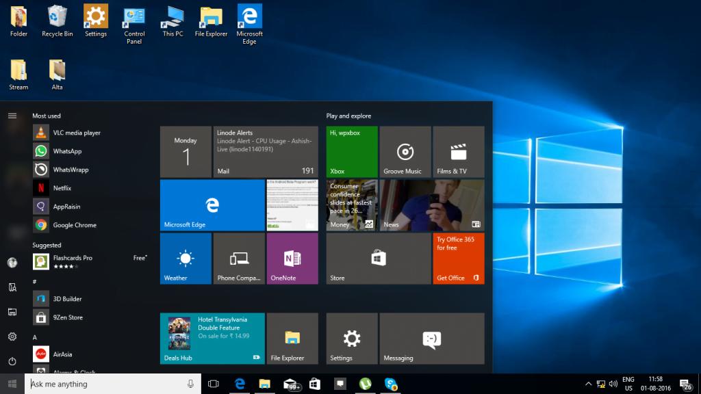 Windows 10 Anniversay Update Start Menu