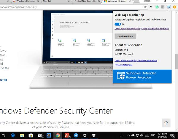Windows 10 Defender Chrome Extension