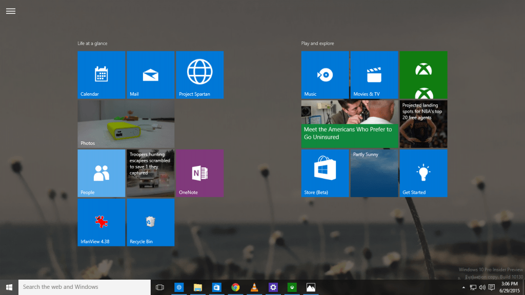 Windows 10 Full Screen Start Menu