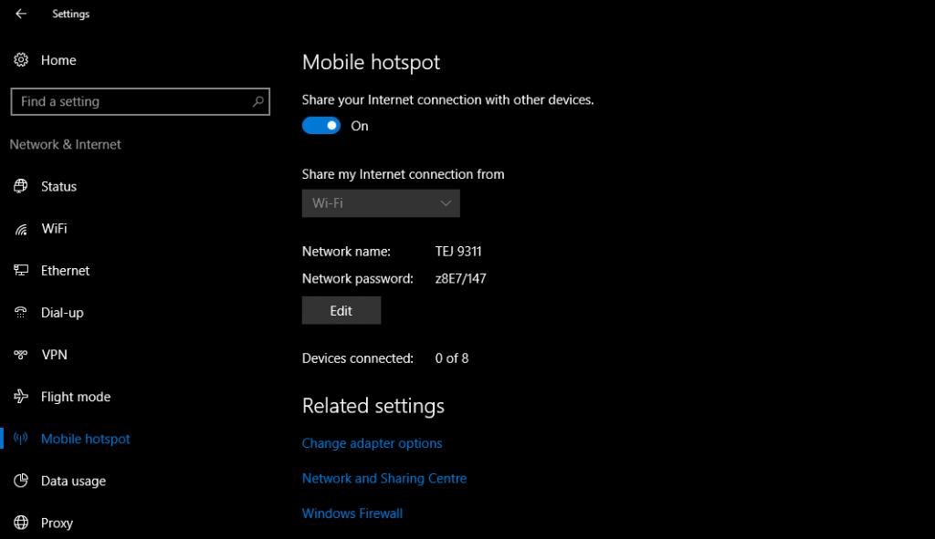 Setup mobile hotspot in Windows 10